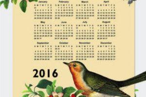 calendario pájaro