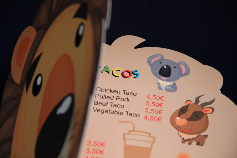 Imprenta GrafiCar - Papelería corporativa - carta_restaurante_troquelada - Papelería corporativa en Barcelona